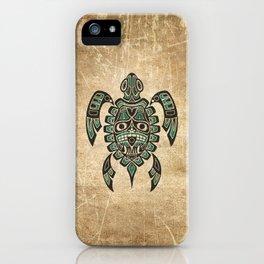 Vintage Teal Blue Haida Spirit Sea Turtle iPhone Case