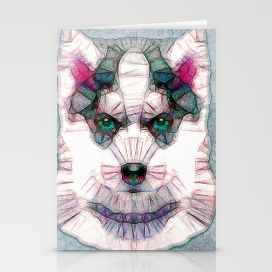 abstract husky puppy Stationery Cards