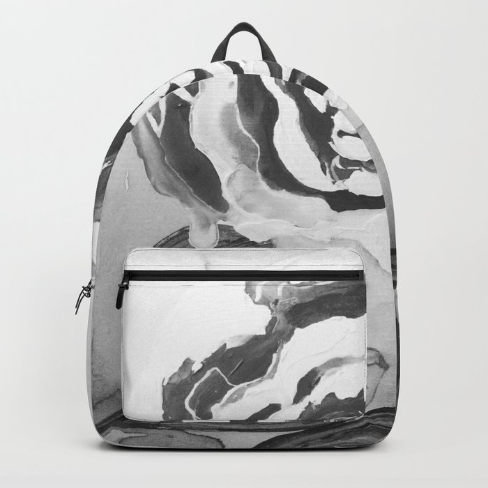 Mother's Day Roses Silver Year Black and White Backpack
