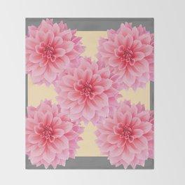 PINK DAHLIA FLOWERS IN YELLOW-GREY Throw Blanket