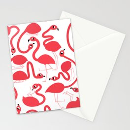 Preppy Pink Flamingos Pattern Stationery Cards