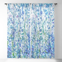 Splattered Blue! Transparent Floral Abstract - Painting Sheer Curtain