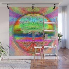 Neon Glow Tree of Life Wall Mural