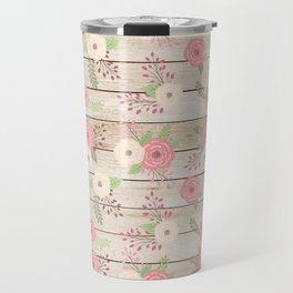 Pink and Cream Roses Pattern Travel Mug