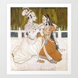 Krishna and Radha circa 1750 - Indian Art Art Print