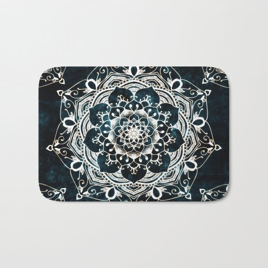 Glowing Spirit Mandala Blue White Bath Mat
