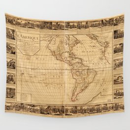 Map of North and South America (1752) Wall Tapestry