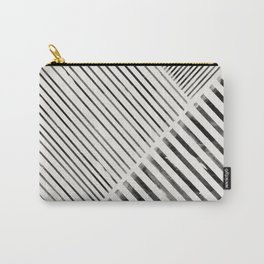 Black and White Stripes, Abstract Carry-All Pouch