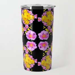 Black Roce & Yellow Color Pattern Floral Travel Mug