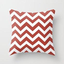Medium carmine - red color - Zigzag Chevron Pattern Throw Pillow
