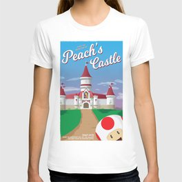 Peach's Castle (Super Mario) Travel Poster T-shirt