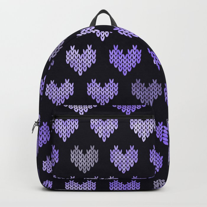 Colorful Knitted Hearts V Backpack