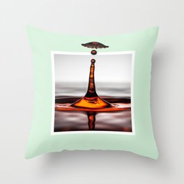 Droplet explosion with 3D pop out of frame effect Throw Pillow