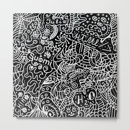 Doodles 11 - Black and white abstract artwork Metal Print