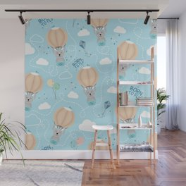 Born to fly bunny pattern Wall Mural