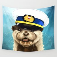 otter Wall Tapestries featuring Captain Otter by tillieke