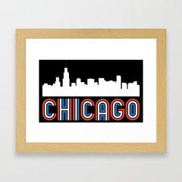 Red White Blue Chicago Illinois Skyline Framed Art Print