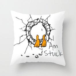 I Am Stuck Throw Pillow