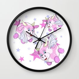 adorable flying pink bubble cows Wall Clock