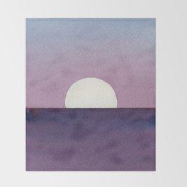 Moonset Watercolor Throw Blanket