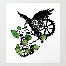 Raven and Ginkgo - Summer Cycle Art Print
