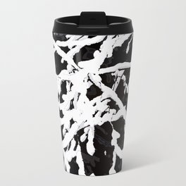 Snowy Branches On Black Background #decor #society6 Metal Travel Mug