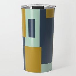 Cosmopolitan Minimalist Geometric Color Block Abstract in Mint, Golden Mustard, and Blue Travel Mug