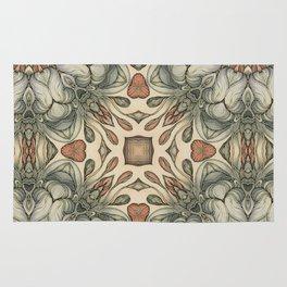 abstract flowers hand drawn and  kaleidoscope mandala Rug