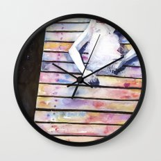 on the jetty, in the sun, her mind was elsewhere Wall Clock