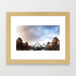 Paris Louvre pyramids black and white with color Framed Art Print