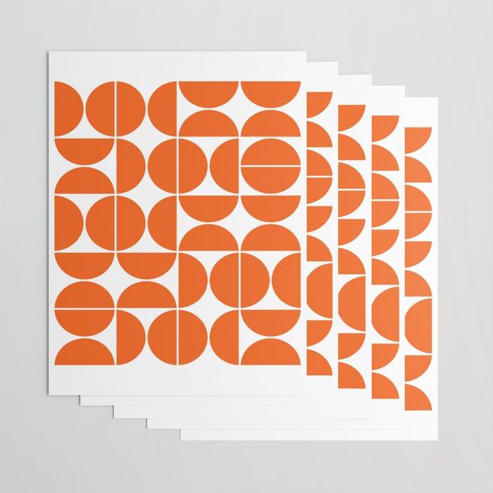 Mid Century Modern Geometric 04 Orange Wrapping Paper