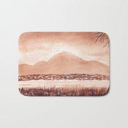 Monochromatic Landscape Painting Bath Mat