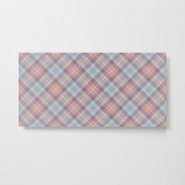 Pink Blue Plaid Rug Pattern Metal Print