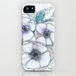 Anemone bouquet illustration watercolor and black ink painting iPhone Case
