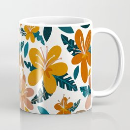 Tropical Holiday Florals – Ochre & Teal Coffee Mug