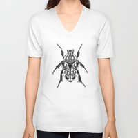 beetle V-neck T-shirts featuring Beetle by Rhiannon Foster