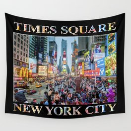 Times Square Tourists (on black) Wall Tapestry