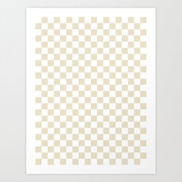 Small Checkered - White and Pearl Brown Art Print