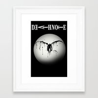 death note Framed Art Prints featuring Death note by sgrunfo