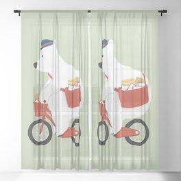 Polar bear postal express Sheer Curtain