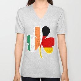 Irish German Flag Shamrock St Patricks Day design Unisex V-Neck