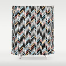 Herringbone Blue and Black #3 Shower Curtain