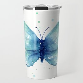 Blue Butterfly Watercolor Travel Mug