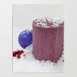 Christmas Candle Snow and Baubles Poster