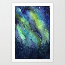 Galaxy Aurora Northern Lights Nebula Space Watercolor Art Print