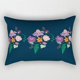 Floral Motif Bouquet Flower Illustration Rectangular Pillow