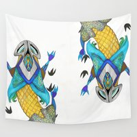 lizard Wall Tapestries featuring Exotic lizard by Gaspart