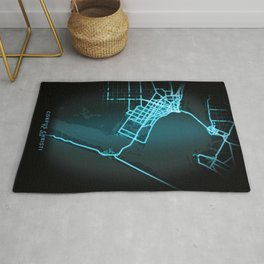 Corpus Christi, TX, USA, Blue, White, Neon, Glow, City, Map Rug