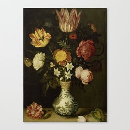 Ambrosius Bosschaert - Still life with flowers in a Wan-Li vase (1619) Canvas Print