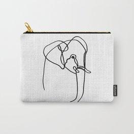 Single Line Elephant - Black Color Palette Carry-All Pouch